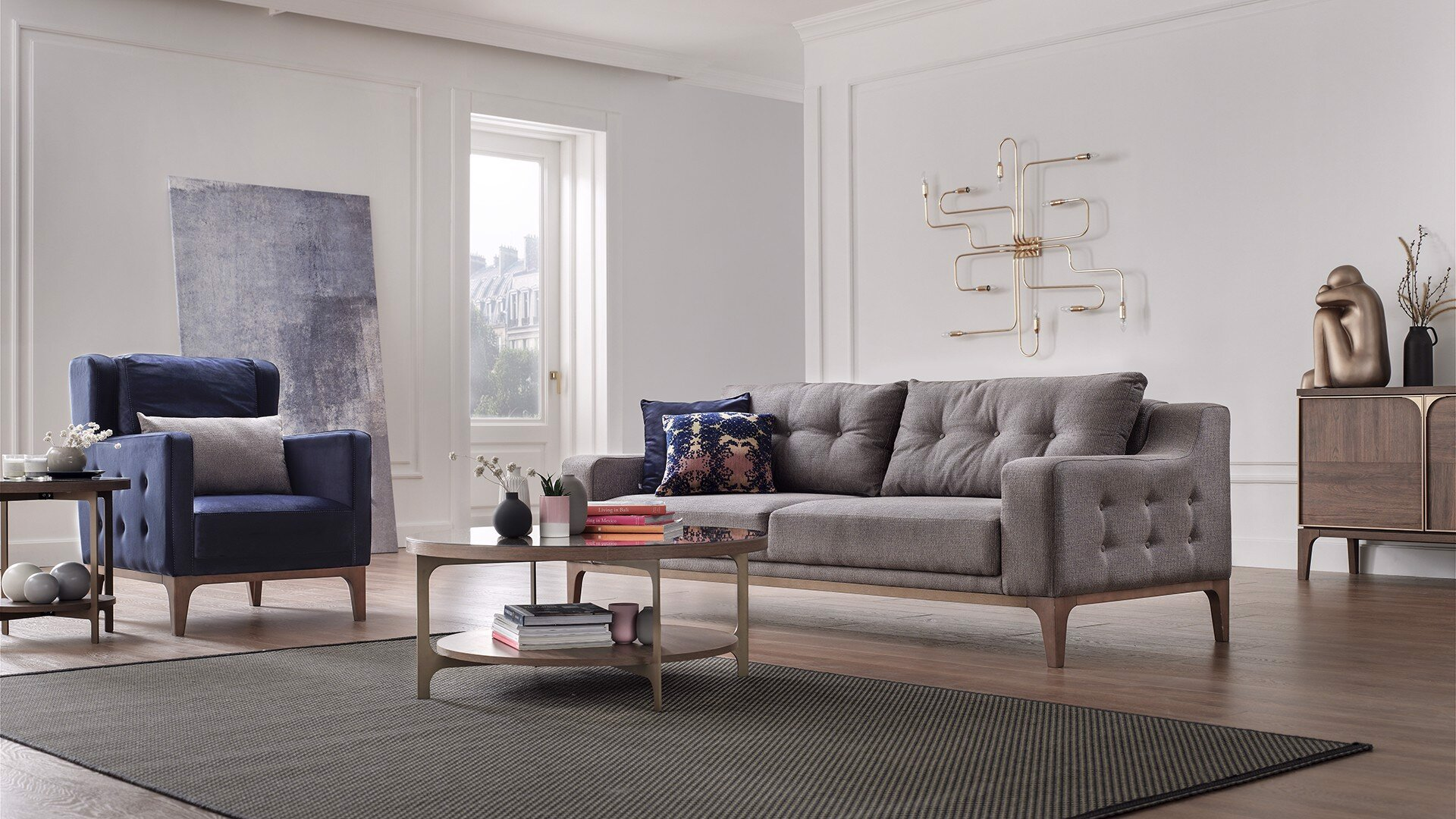 Gold Two Seater Sofa