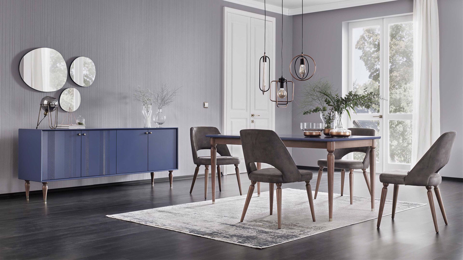 Floria Expandable Dining Table (Blue)