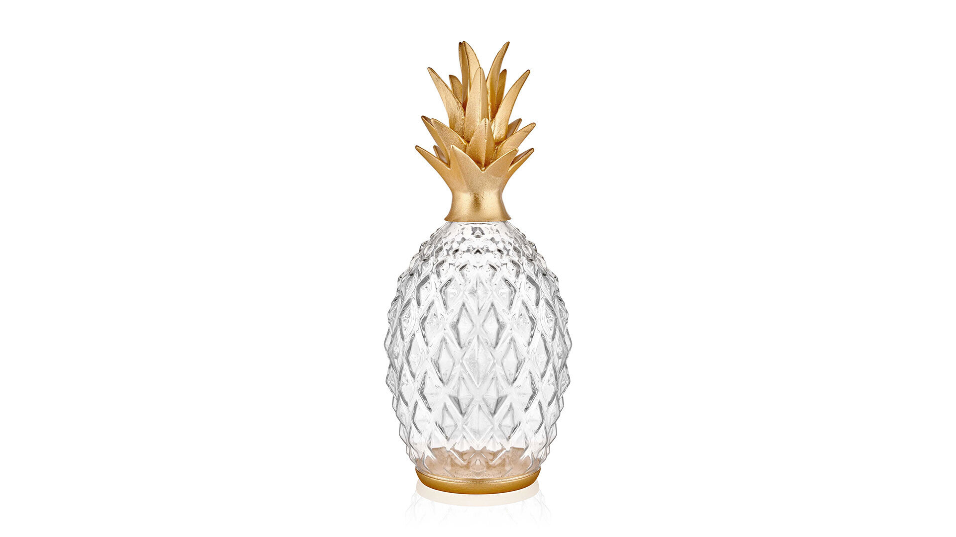 Diamond Decorative Glass Pineapple- Gold