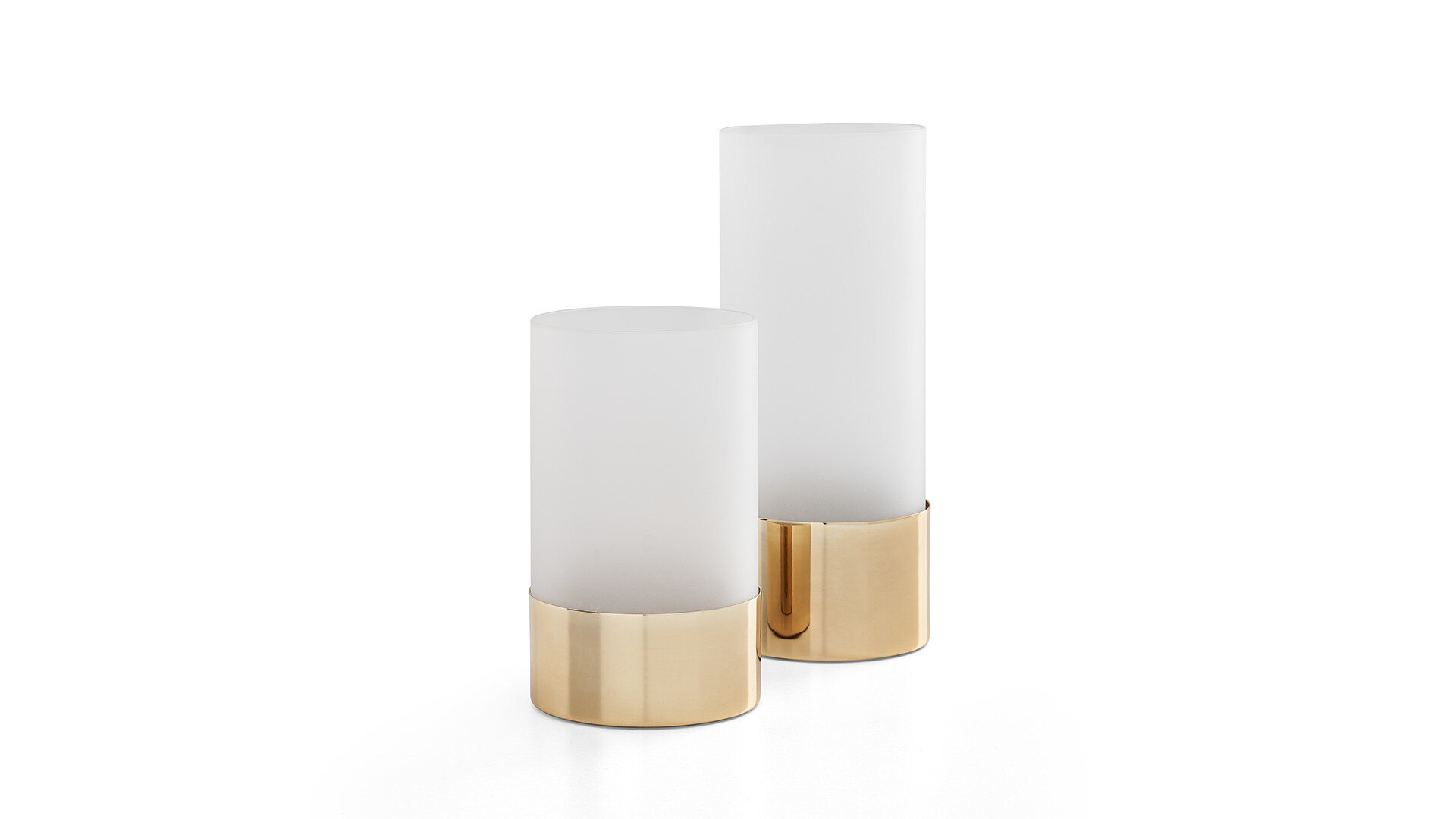 Likya Home-08 Matte Gold Medium Vase With Frosted Glass