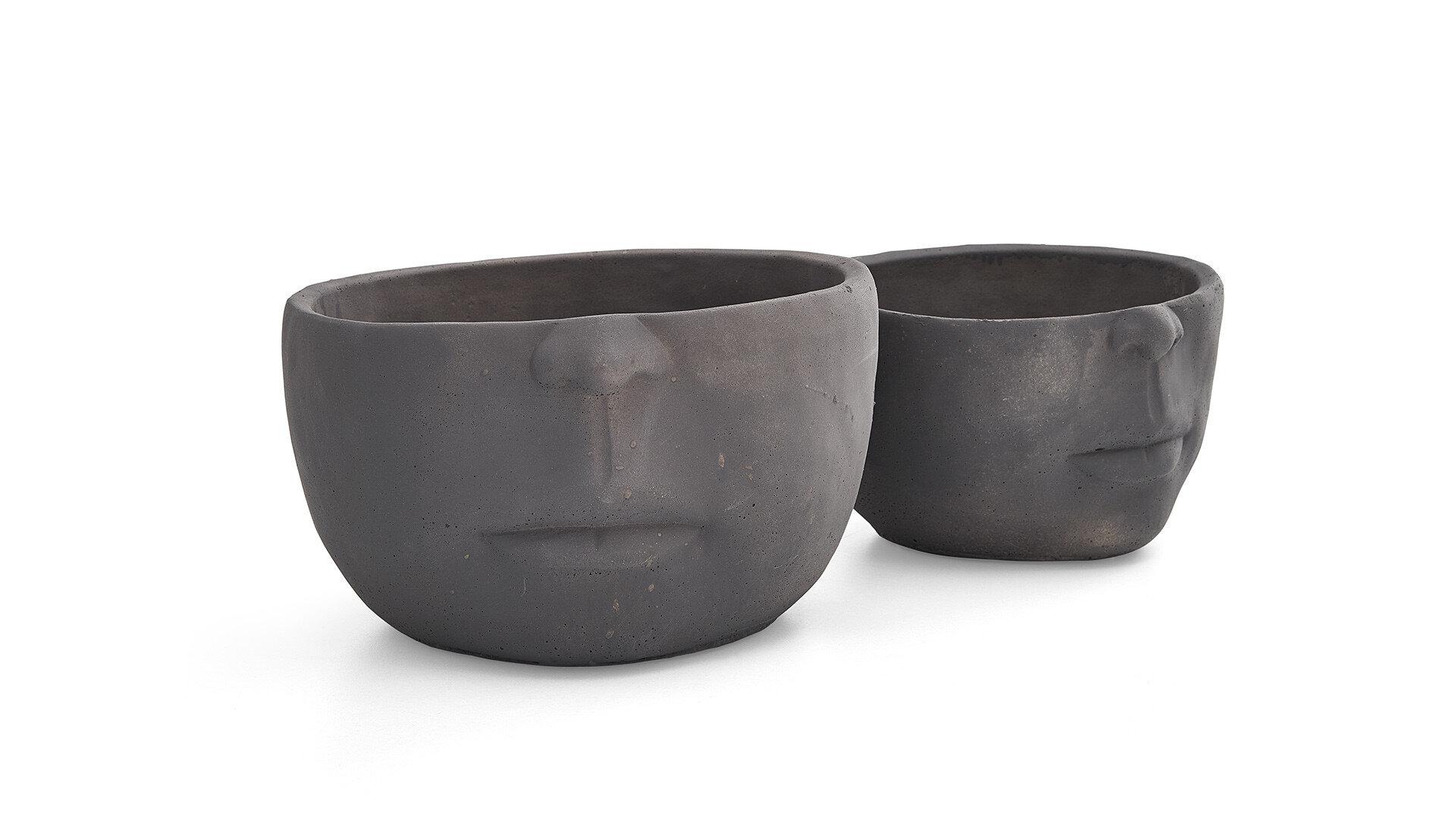 Likya Home-08 Black Half-Face Small Vase