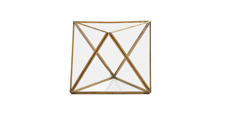 Larina Home-06  Gold Pyramid Bell Glass - Large
