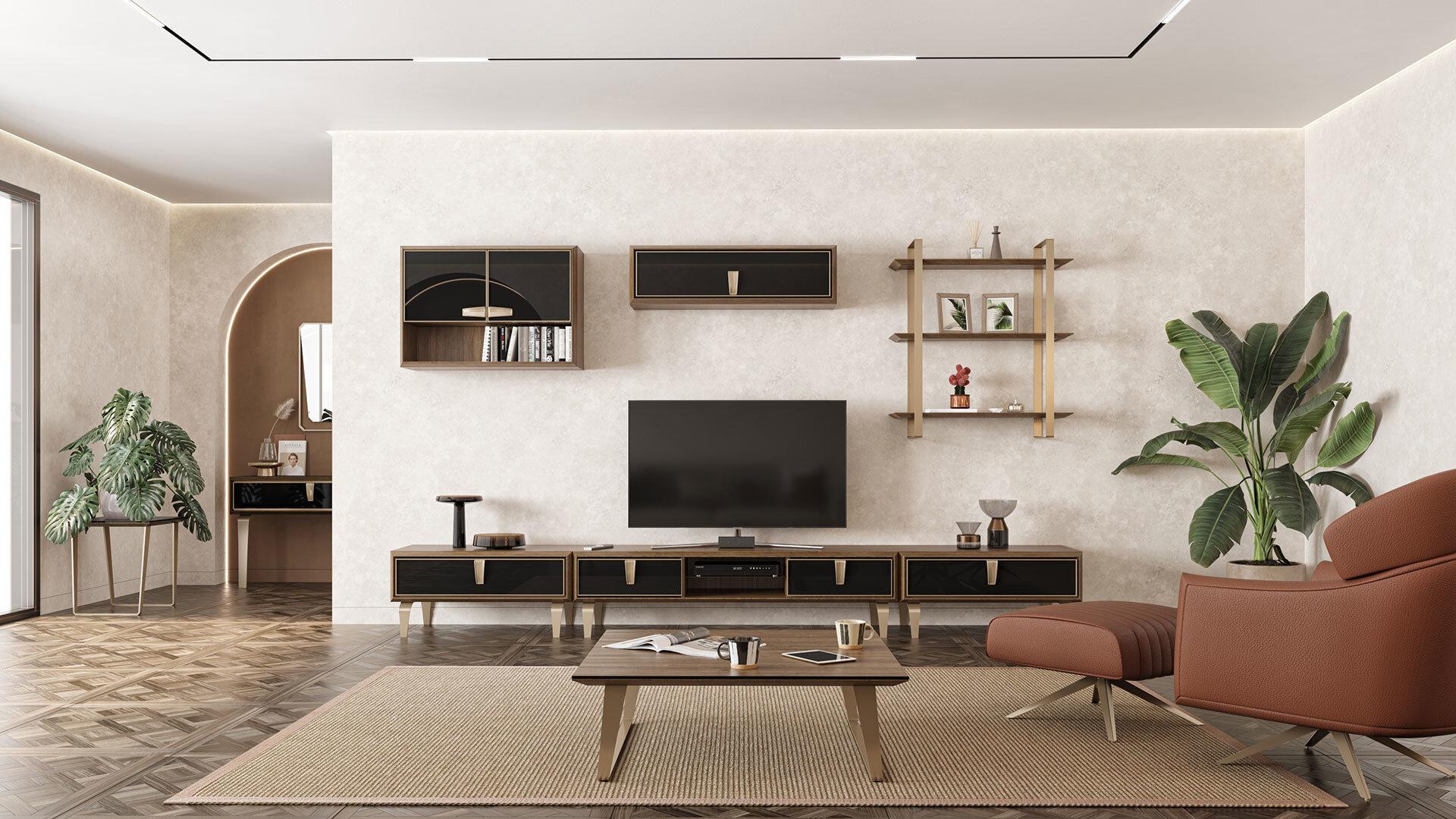 Carbon Tv Ünitesi Üst Raf Modül